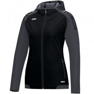 Женская куртка JAKO Champ с капюшоном, цвет черный антрацит