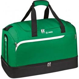 Производительность спортивной сумки JAKO с отделкой нижнего отсека зеленого-бело-черного цвета